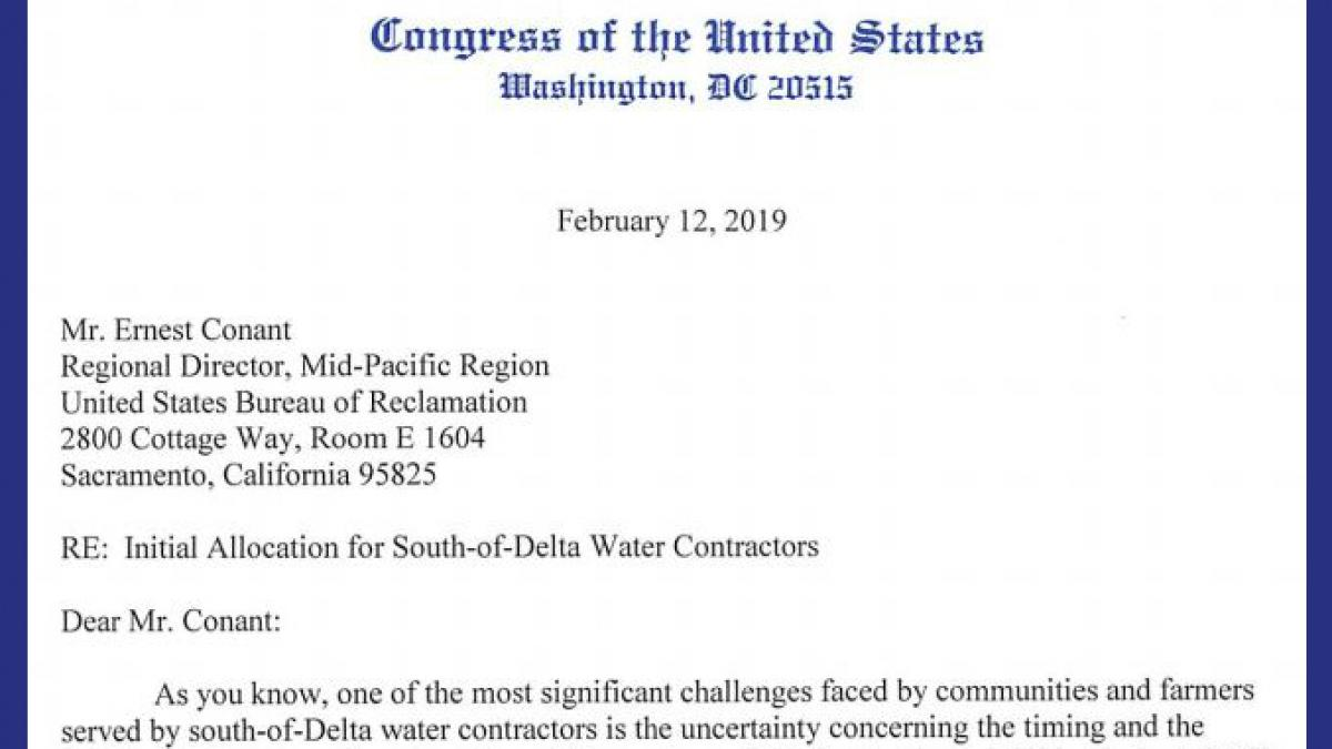 Sen. Feinstein, Reps. Costa, Cox Send Letter Urging Additional Water for Valley Farmers Following High Snowfall