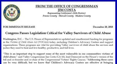 Congress Passes Legislation Critical for Valley Survivors of Child Abuse