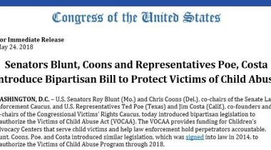 Senators Blunt, Coons and Representatives Poe, Costa Introduce Bipartisan Bill to Protect Victims of Child Abuse