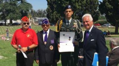 Congressman Costa with Dan Payne of Marine Corps League Detachment 14, Commander of the Military Order of the Purple Heart George Ruiz, and Junior ROTC Cadet Abrahman Hernandez at the 2017 Veterans Liberty Cemetery Memorial Day ceremony in Fresno