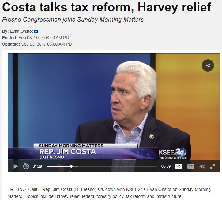 Costa Talks Tax Reform, Harvey Relief